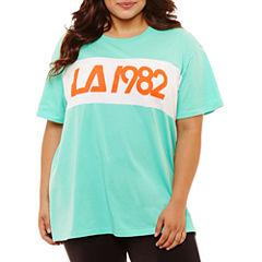 Flirtitude Short Sleeve Round Neck Graphic T-Shirt- Juniors Plus