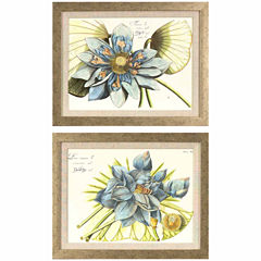 Decor Therapy Blue Lotus in Distressed Silver Frame - Set of 2