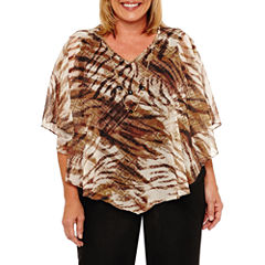 Alfred Dunner Jungle Habitat Short Sleeve Layered Top Plus