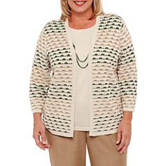 Alfred Dunner Emerald Isle 3/4 Sleeve Textured Layered Sweaters-Plus