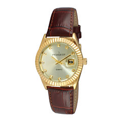 Peugeot® Womens Crystal-Accent Brown Leather Strap Watch 3045BR