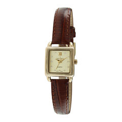 Peugeot® Womens Crystal-Accent Brown Leather Strap Petite Watch 3034BR