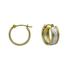 14K Two-Tone Gold 15mm Small Band Hoop Earrings