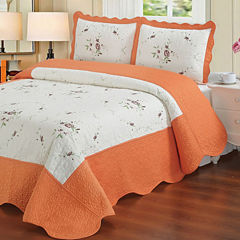 Laura's Lace Chelsea 3-Piece Embroidered Quilt Coverlet Set
