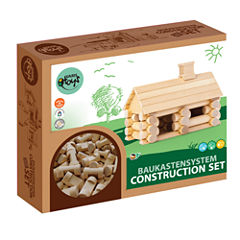 VARIS - Traditional All Wooden Log Construction Building Toy, 35 Piece Little House
