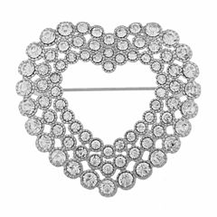 Monet Jewelry Clear And Silvertone Open Heart Pin