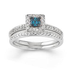 Womens 1/2 CT. T.W. Color Enhanced Blue Diamond 10K Gold Bridal Set