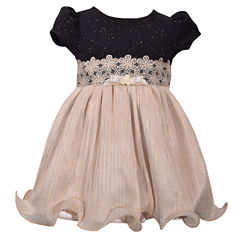 Bonnie Jean Short Sleeve Sparkle Gold Skirt Dress Dress - Baby Girls