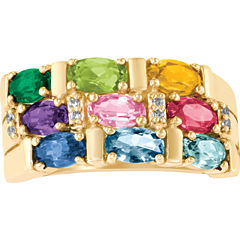 Celebrations Of Life Womens Simulated Multi Color Multi Stone 10K Gold Band