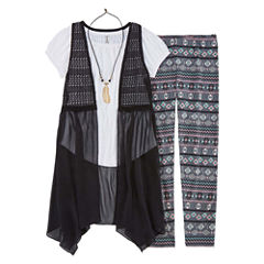 Knit Works SS Crochet Vest Legging Set With Necklace - Girls' 7-16