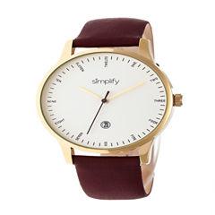 Simplify Unisex Brown Strap Watch-Sim4306
