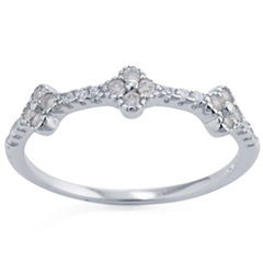 Silver Treasures Womens Clear Delicate Ring