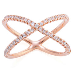 Silver Treasures Womens Clear 14K Crossover Ring
