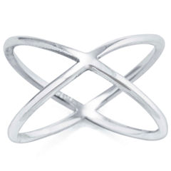 Silver Treasures Womens Crossover Ring