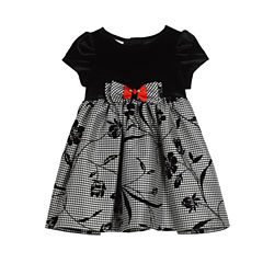 Marmellata Short Sleeve Pattern A-Line Dress - Baby Girls