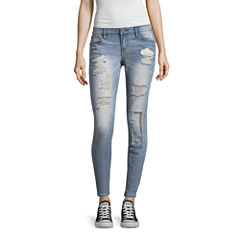 Rampage Stitch Embroidered Skinny Jeans-Juniors