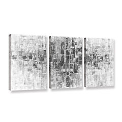 Brushstone Black and White 3-pc. Gallery Wrapped Canvas Wall Art