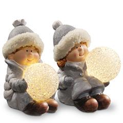 5.5I Lighted Boy & Girl Decor Piece