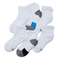 Hanes X Temp Ankle 6 Pair Quarter Socks - Boys