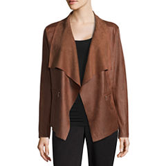 Worthington Suede Drape Front Jacket- Talls
