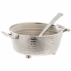 Classic Touch hammered stainless steel Candy Nut Bowl with Spoon