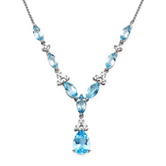 1/10 CT. T.W. Diamond and Lab-Created Blue Topaz 10K White Gold Drop Necklace