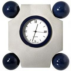 Natico Art Deco Silver Desk Clock