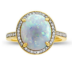 Womens 1/6 CT. T.W. Lab Created Multi Color Opal 10K Gold Cocktail Ring