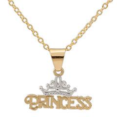 Disney® 14K Yellow Gold Princess Tiara Pendant Necklace