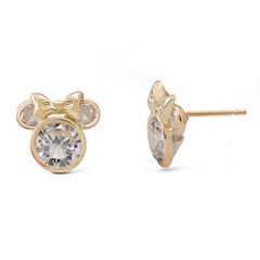 Disney® 14K Yellow Gold Cubic Zirconia Minnie Mouse Stud Earrings