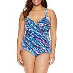 Trimshaper Pattern One Piece Swimsuit Plus