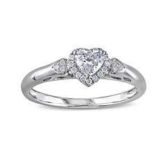 2/5 CT. T.W. Diamond 14K White Gold Heart Ring