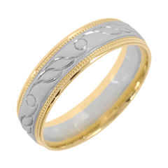 10K Two-Tone Gold Womens Engraved Milgrain 5mm Wedding Band