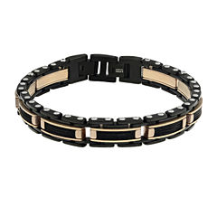 Mens Stainless Steel & Rose-Tone IP Cable Link Bracelet