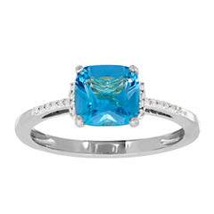 Genuine Blue Topaz & Diamond Accent 10K White Gold Ring