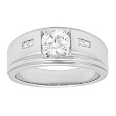 Mens Sterling Silver Cubic Zirconia Ring