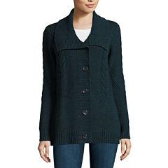 St. John's Bay® Long-Sleeve Cable Tunic Cardigan