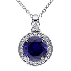 Lab-Created Blue and White Sapphire Sterling Silver Pendant Necklace