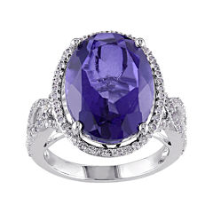 Genuine Purple Quartz and White Topaz Sterling Silver Ring