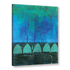 Blue-Green Abstract Gallery Wrapped Canvas Wall Art