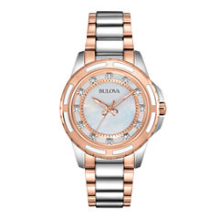 Bulova® Womens Two-Tone Mother-of-Pearl Diamond-Accent Watch 98P134