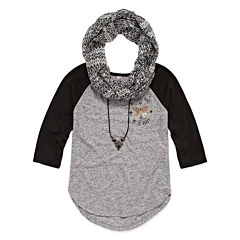 Knit Works Long Sleeve Baseball Graphic T-Shirt with Necklace and Scarf- Girls' 7-16