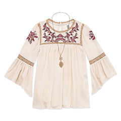 Beautees Bell Sleeve Embroidered Top w Necklace - Girls' 7-16
