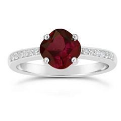 Genuine Garnet and White Topaz Sterling Silver Halo Ring