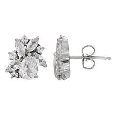 Pear White Sapphire Sterling Silver Stud Earrings