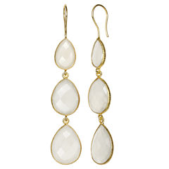 White Quartz 14K Gold Over Silver Drop Earrings