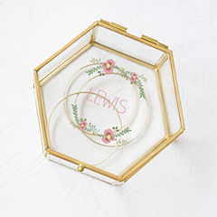 Cathy's Concepts Personalized Floral Gold Glass Keepsake Box