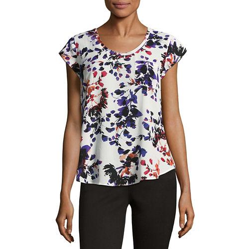 Liz Claiborne Short Sleeve Floral T-Shirt-Womens Talls