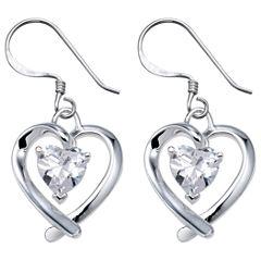 Sterling Silver Cubic Zirconia Heart Earrings