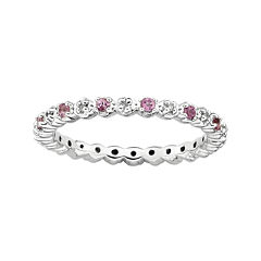 Personally Stackable Genuine Pink Tourmaline & Diamond-Accent Eternity Ring